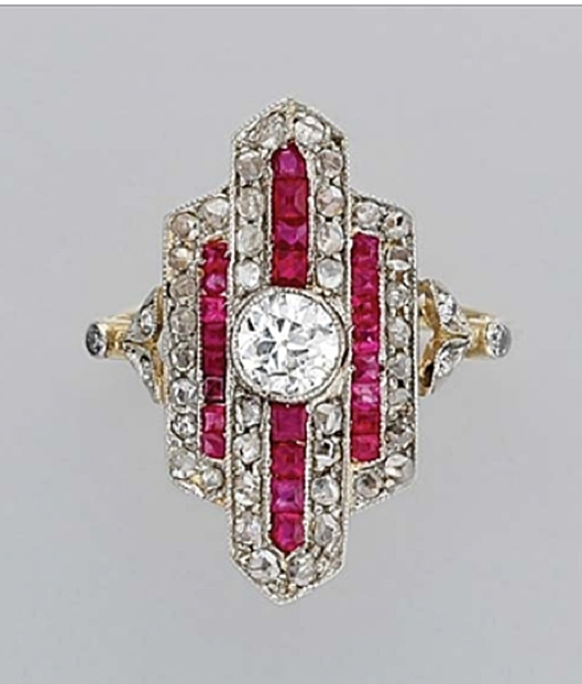 Diamond and Ruby Ring Platinum, gold, one old European-cut diamond ap. .35 ct., rose-cut diamonds, ap. 2.8 dwt. Art Deco or Art Deco style