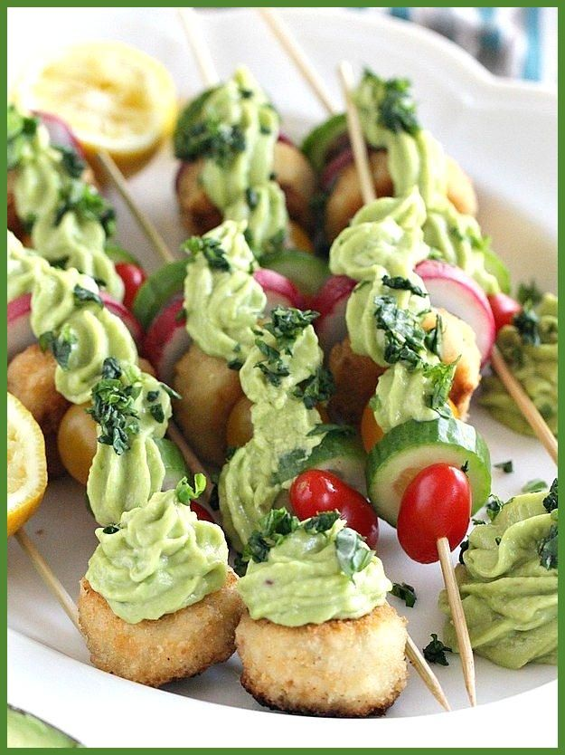Vegan Crab Cake Veggie Skewers With Avocado Sauce Vegan Crab Cake Veggie Skewers With Avocado Sauce