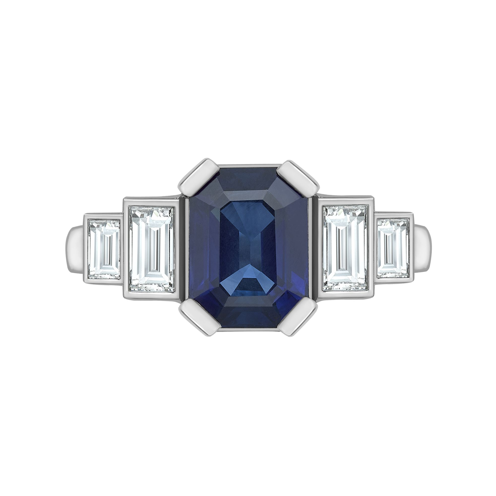 platinum by ring sapphire cut pin centering approximately an emerald measuring diamond and baguette