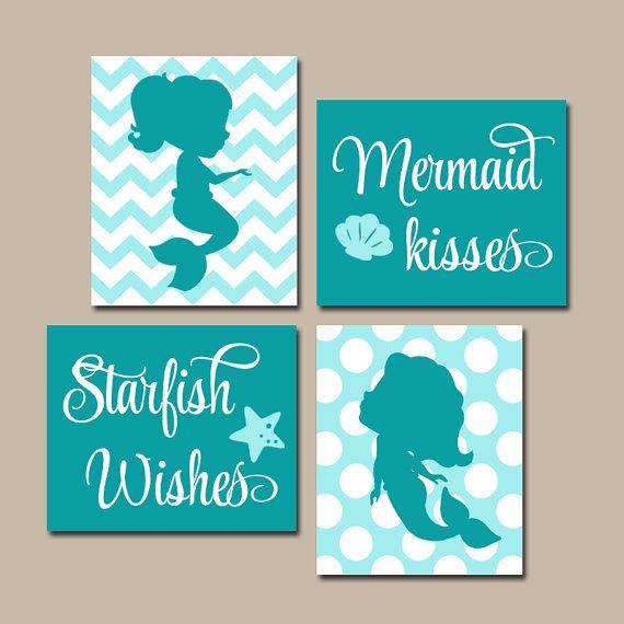 Wonderful MERMAID Bathroom Decor, Canvas Or Prints, Mermaid Bathroom Wall Art, Sister  BATHROOM Bedroom Decor, Mermaid Kisses Starfish Wishes, Set Of 4