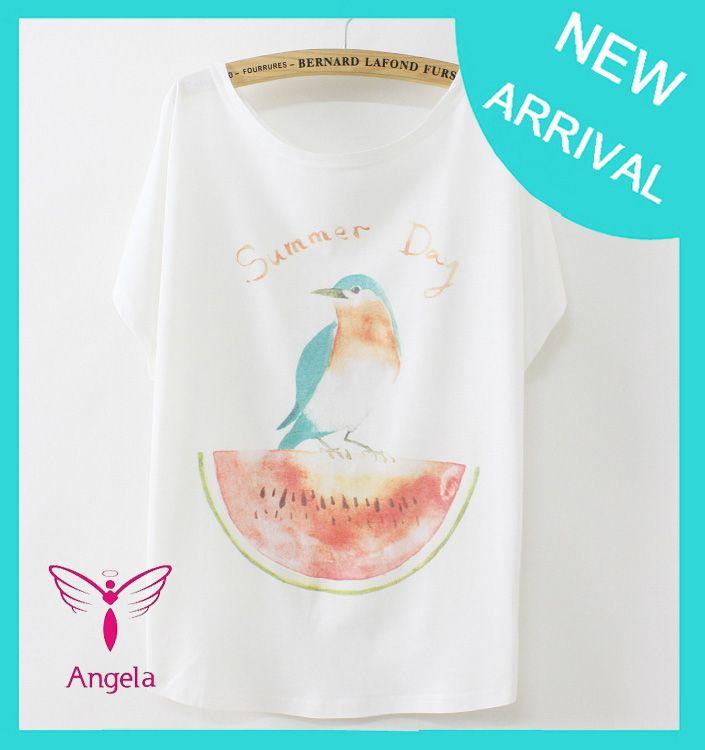 2014 caliente de la venta de la mujer de verano tamaño más suelto tapas de la blusa de la sandía de las aves en Camisetas de Ropa y accesorios en Aliexpress.com