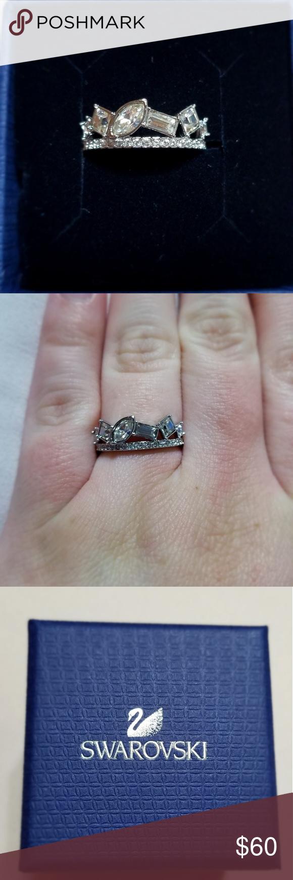 ddf3039ba Henrietta Ring Broken tiara ring, rhodium plated (will not tarnish). Size  6. Comes with original tag in original box. Swarovski Jewelry Rings