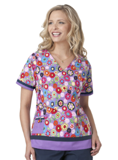 4a1a06cf2af Adorable Feel Good purple and blues/red print #nursing scrub top ...