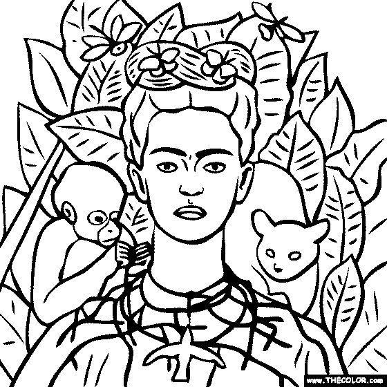 Frida self portrait Coloring Famous Art Pinterest