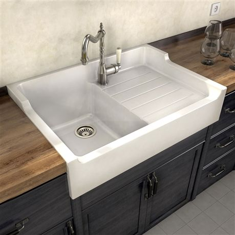 Evier A Poser Ceramique Blanc Gabin 1 Bac 1 Egouttoir Sinks
