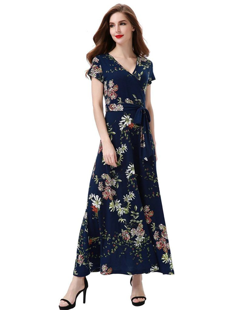 Aphratti Women S Bohemian Short Sleeve V Neck Faux Wrap Vintage Maxi Dress In 2019 Dresses Maxi Wrap Dress Floral Maxi Dress [ 1024 x 788 Pixel ]