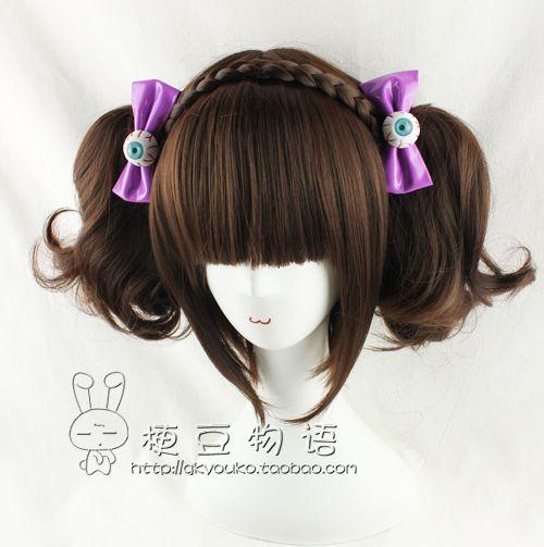 【kyouko假發】cos 日常 lolita 可愛 深棕色BOBO頭+雙馬尾卷發-淘寶網