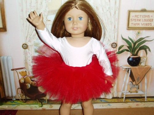 Ballet Dance Tutu 18 inch doll clothes fits American girl tulle Red 18dolls red Any Age Unisex