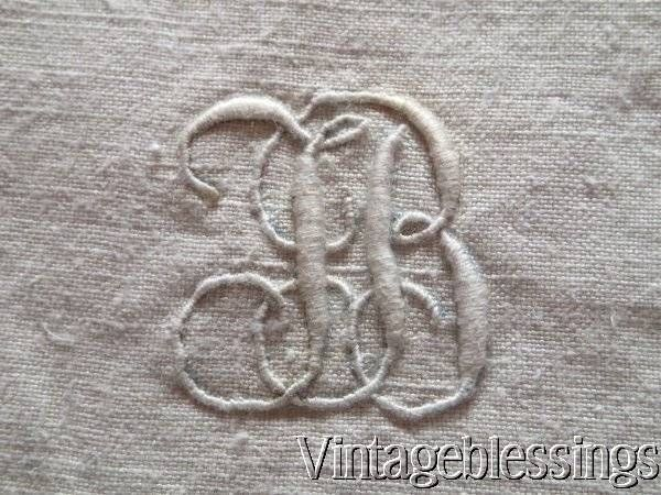 Beautiful Pair Of MONOGRAMMED French Linen Antique Euro Shams