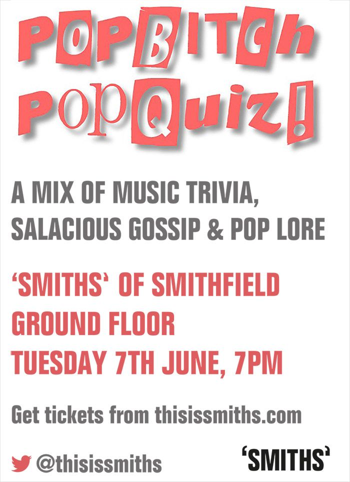 Popbitch POPQUIZ is back on the 7th June, get it in the diary now...