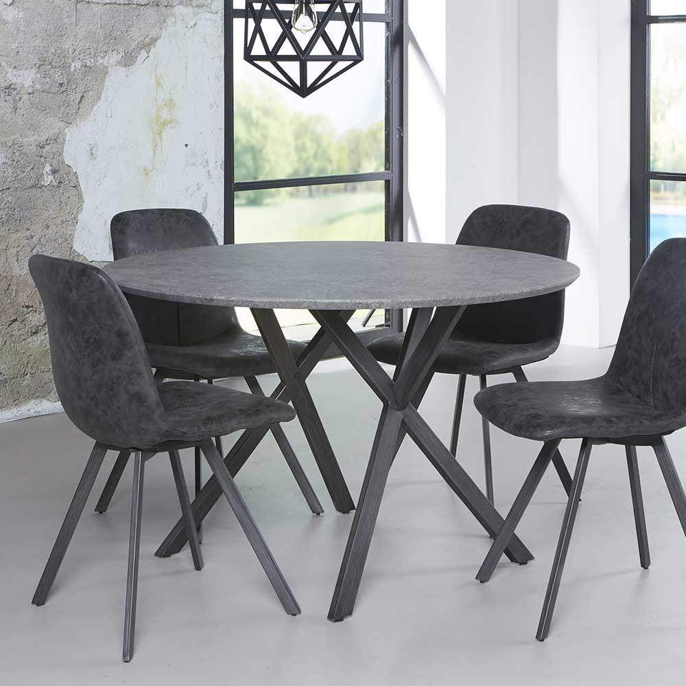 Esszimmertisch in Schwarz Grau rund küchentisch,eßtisch,esstisch ...
