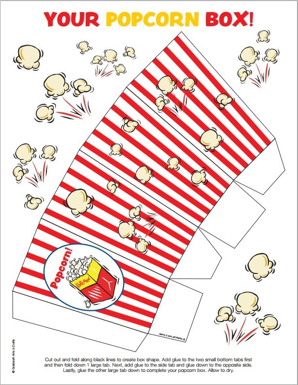 image regarding Popcorn Box Printable identified as 12 Totally free Popcorn Box Templates for Family members Online video Night time cosas