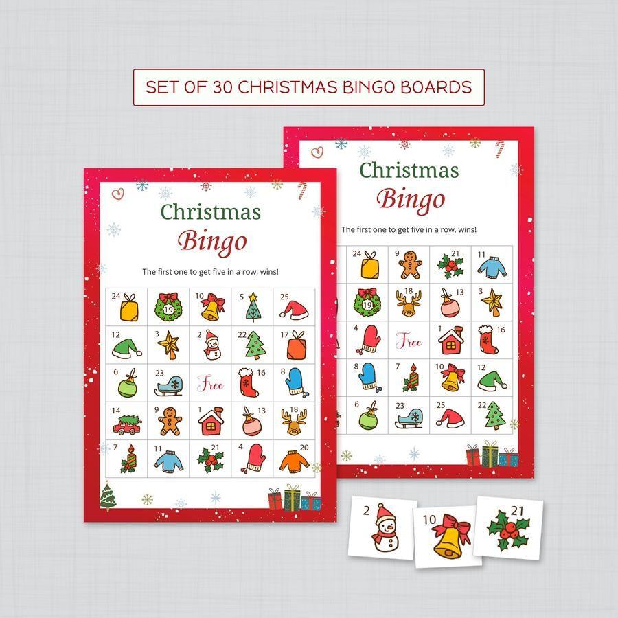 Christmas Bingo Cards Set of 30 Boards Christmas bingo