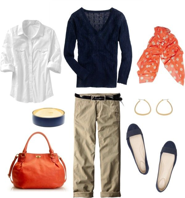 """Navy, Orange and Khaki"" by bluehydrangea on Polyvore"