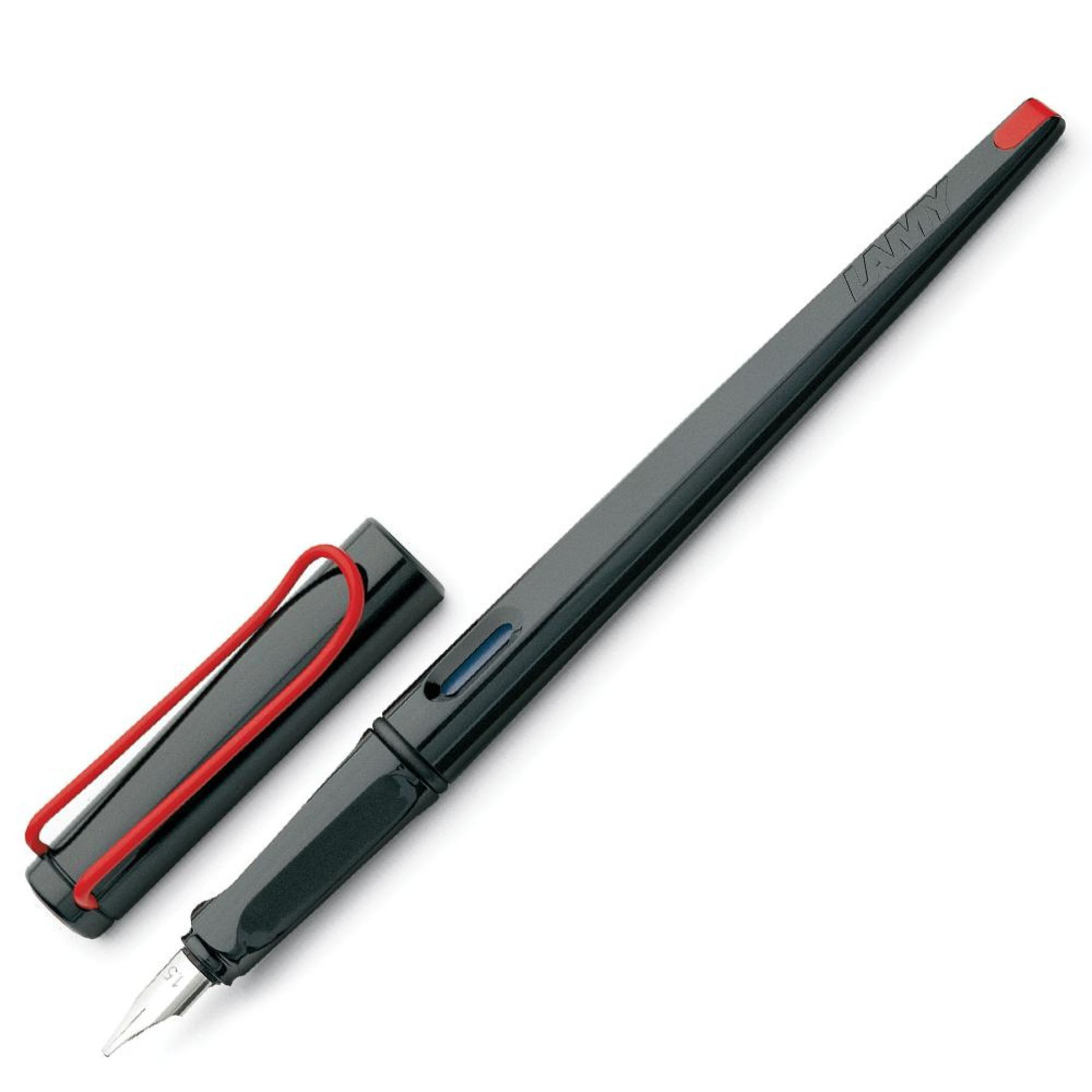 Lamy Joy Calligraphy Fountain Pen In Shiny Black With Red