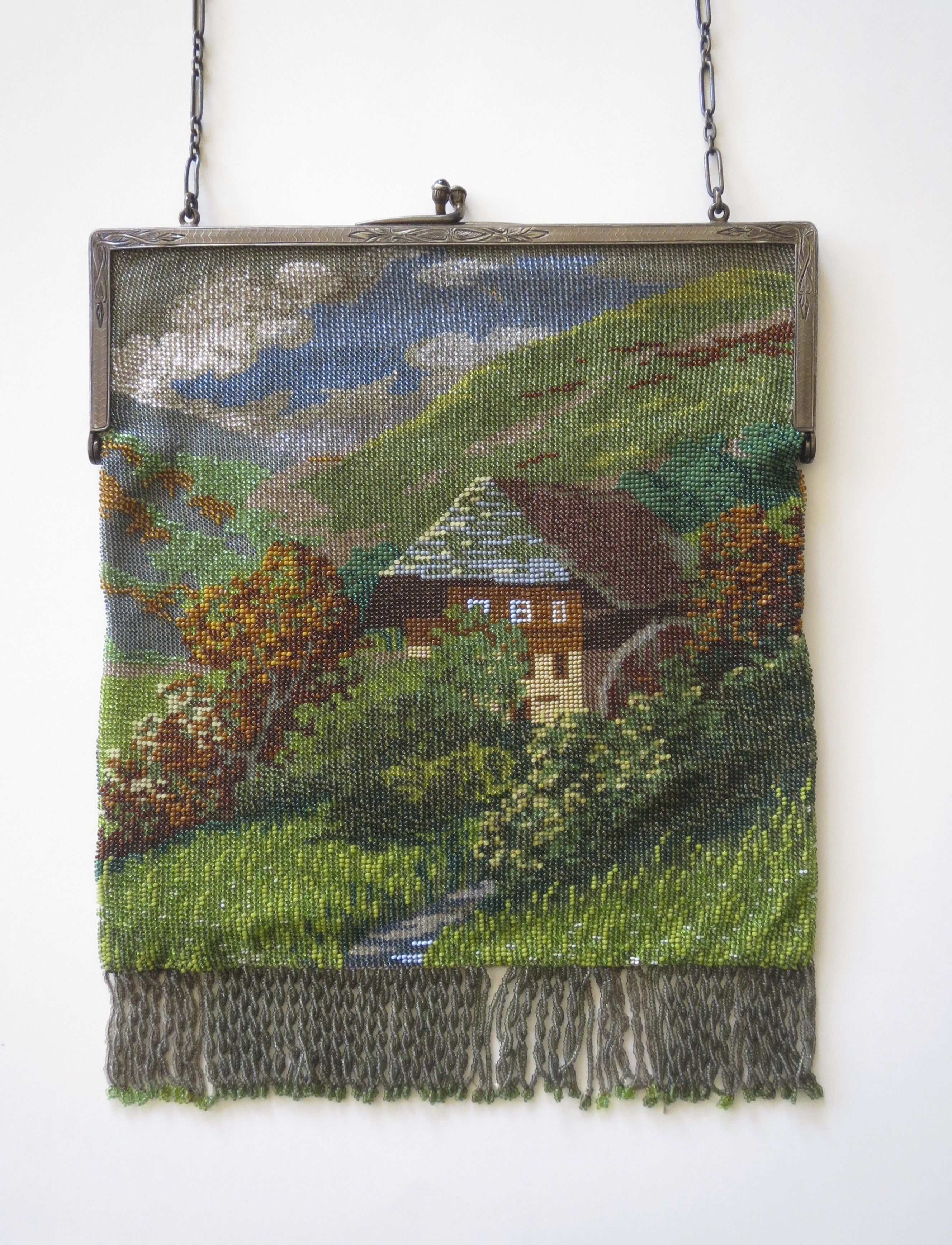 1920 S German Black Forest Water Wheel Scenic Purse From Lori Blaser Collection
