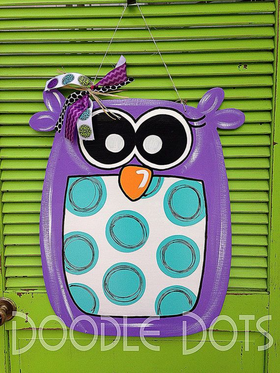 Big Hoot Owl Door Hanger by DoOdLeDotsAnDmOre on Etsy