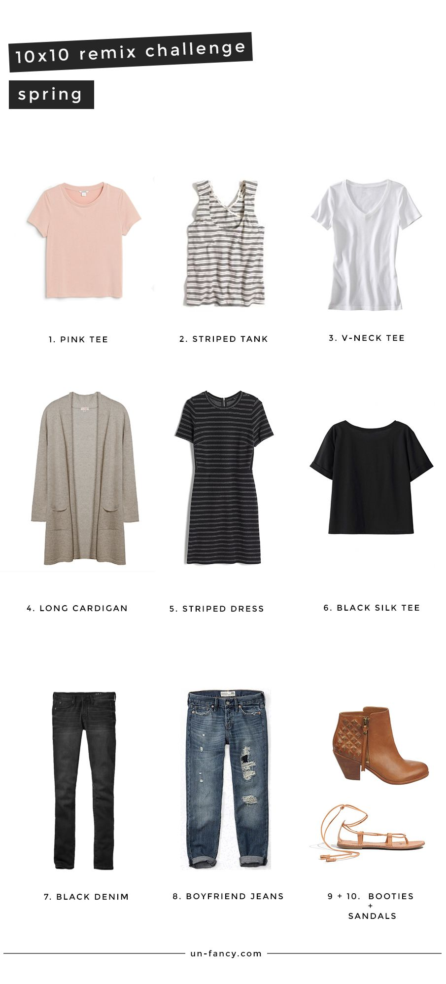 Spring Remix 10 Pieces 10 Outfits 10 Days Capsule Wardrobe Fashion Capsule Capsule Wardrobe Mom