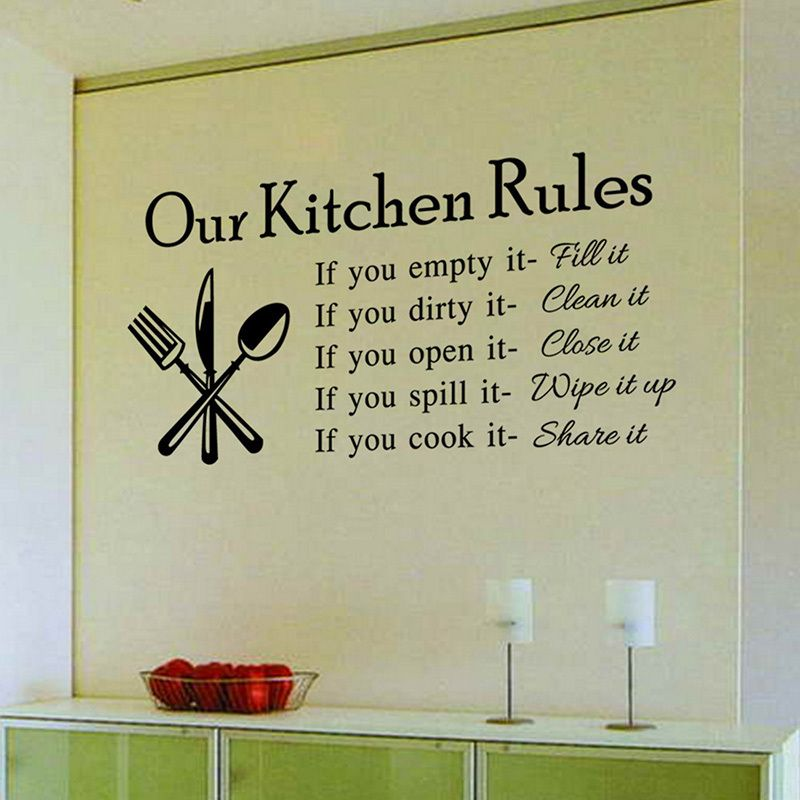 Kitchen rules living room kitchen vinyl wall stickers for for Living room quote stickers