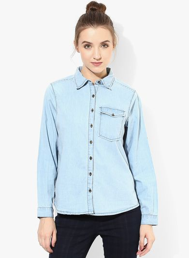 44749f113c9 Buy Alia Bhatt For Jabong Ice Wash Blue Jean Shirt for Women Online India,  Best Prices, Reviews | AL635WA24JLRINDFAS