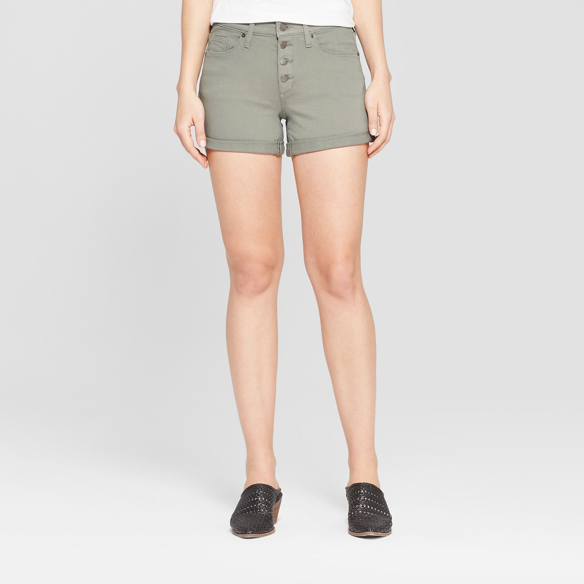 2de3fc5790 Women's High-Rise Button Fly Double Cuff Jean Shorts - Universal Thread  Olive 16, Gray