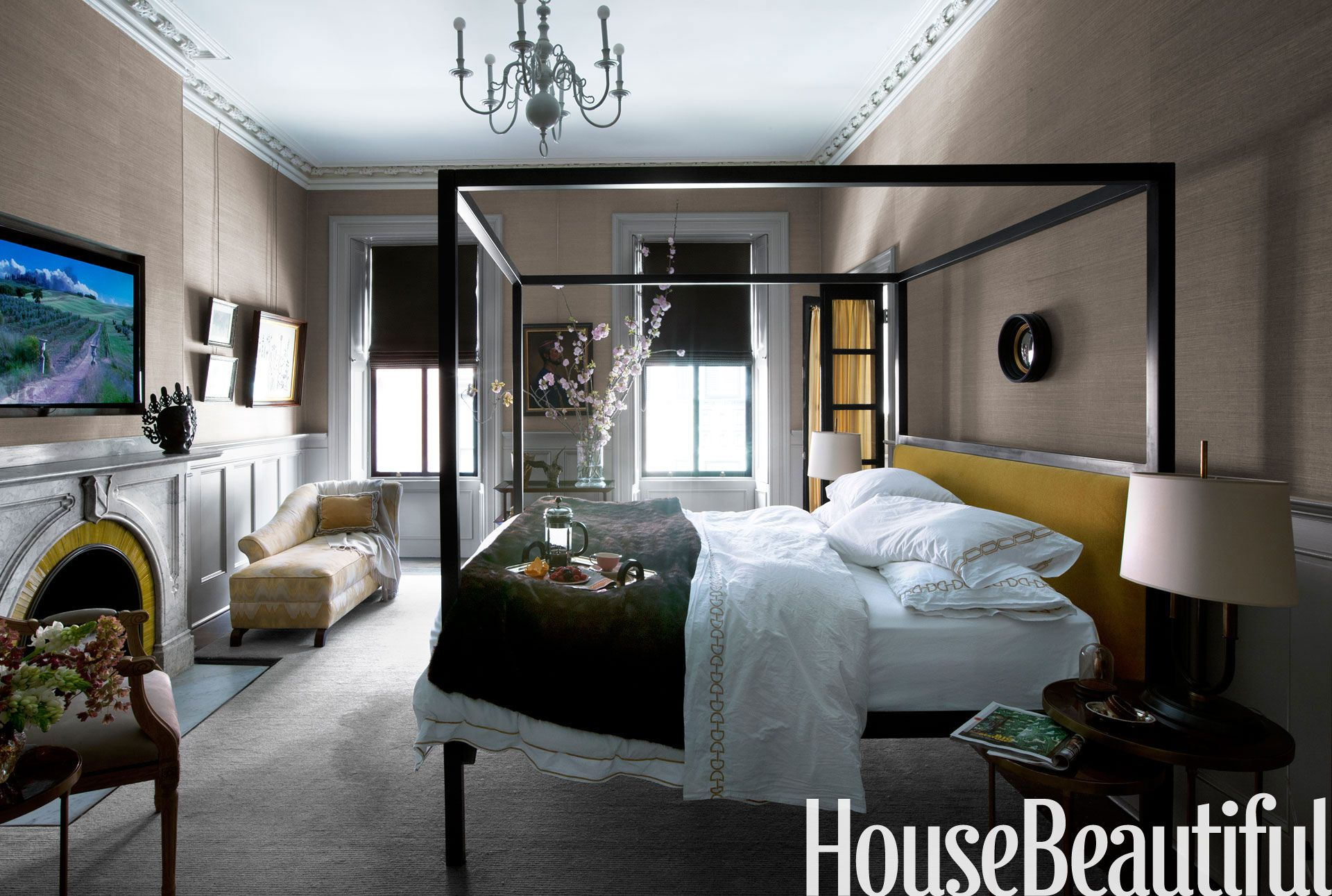 Master bedroom house  A Proper Boston Brownstone with Sparkle  Holly hunt Master bedroom