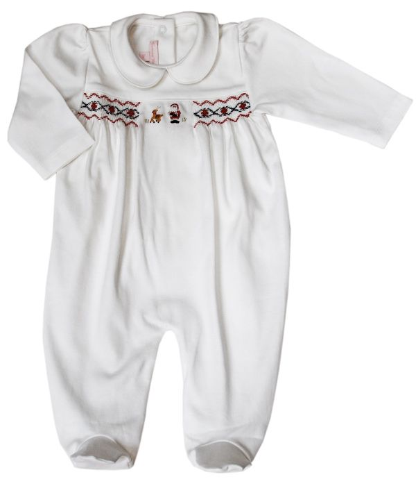 ea2a69551 Infant baby smocked Santa footie   Christmas girls dresses   Baby ...