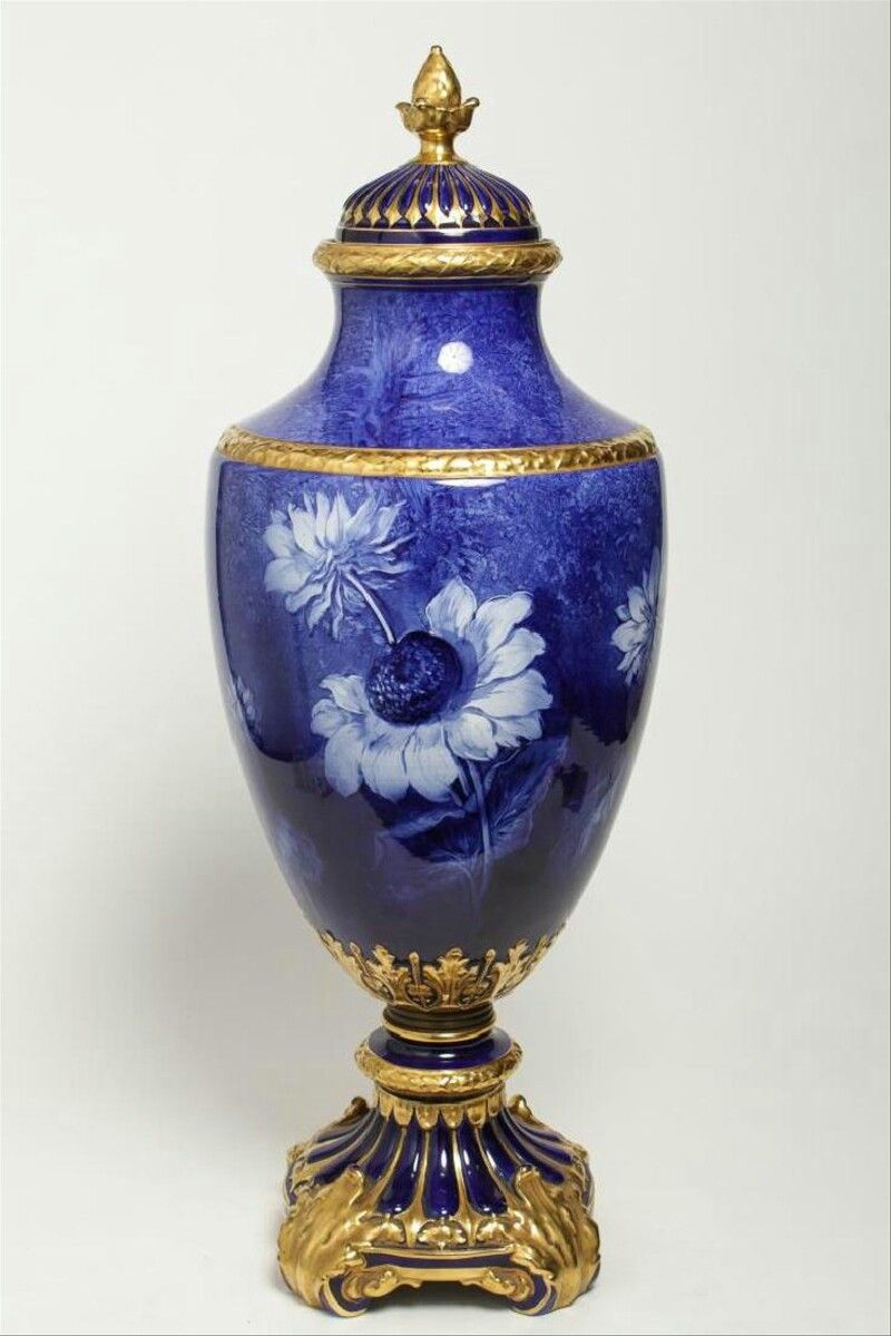 Royal Bonn German porcelain, handpainted cobalt blue and