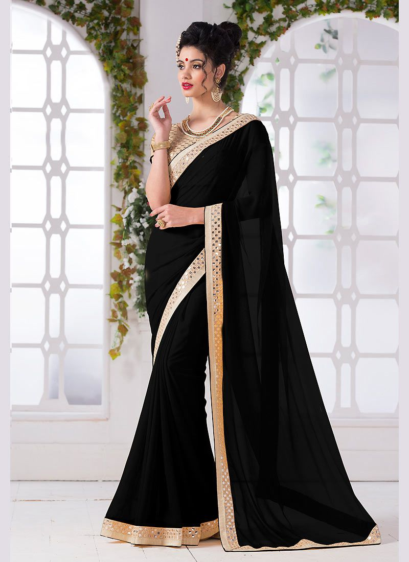 6196985772 black #georgette #chiffon designer #saree Roll over image to zoom or click  to large Black Georgette Chiffon Designer Saree #nikvik #usa #designer  #australia ...