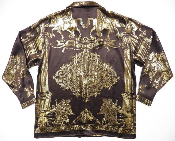 4137f1ca versace hermes style mens xl shirt silk metallic gold by style1000 ...