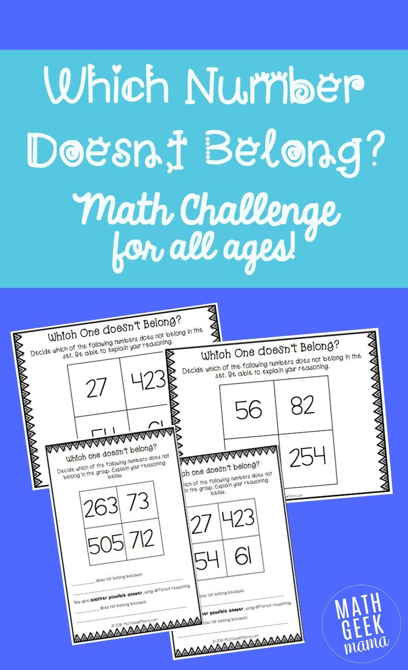 Which Number Doesn\'t Belong? Math Challenge for Kids | Pinterest ...