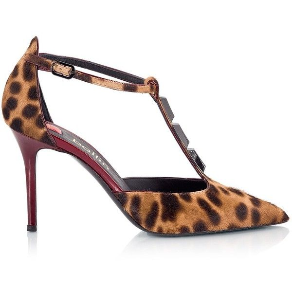 d0f7565145e3 Ballin - DANAERYS Leopard print pony-hair T-strap pointy pumps (13 810 UAH)  ❤ liked on Polyvore featuring shoes