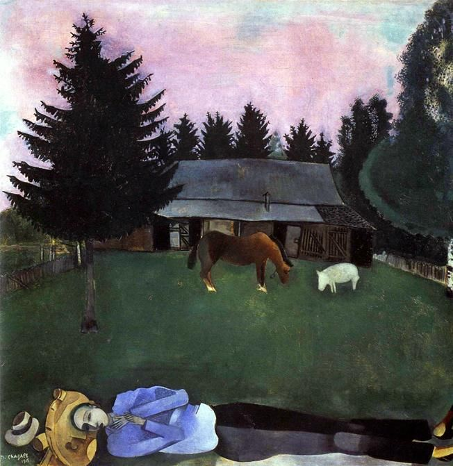 1915  Marc Chagall. Le Poète allongé Huile sur toile 77x77,5 cm Londres, collection The Trustees of the Gate Gallery. #Art #Francia @deFharo