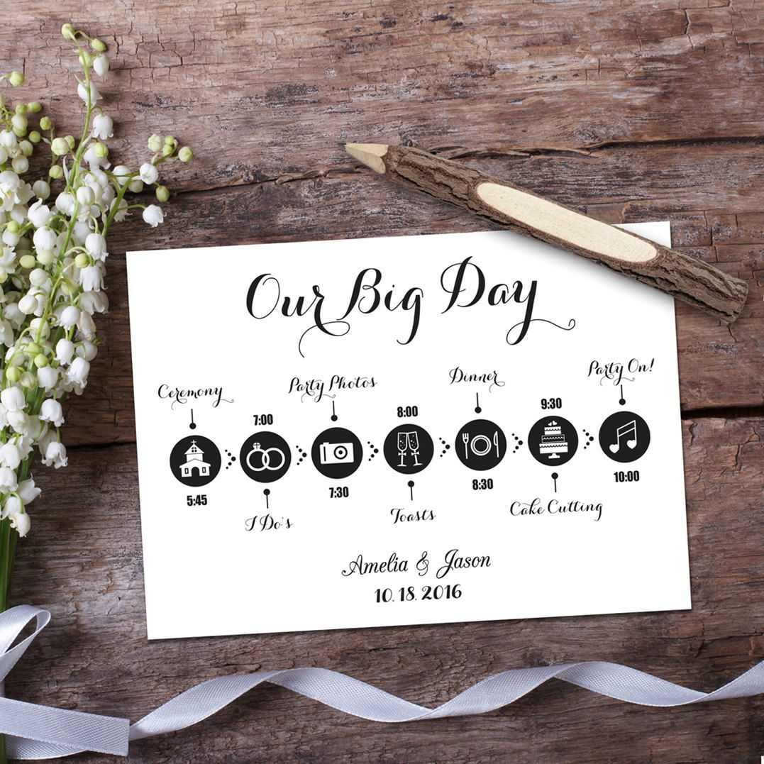 wedding timeline template card digital printable wedding timeline