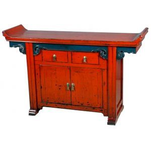 Buffet chinois pagode rouge meubles for Meuble buffet chinois