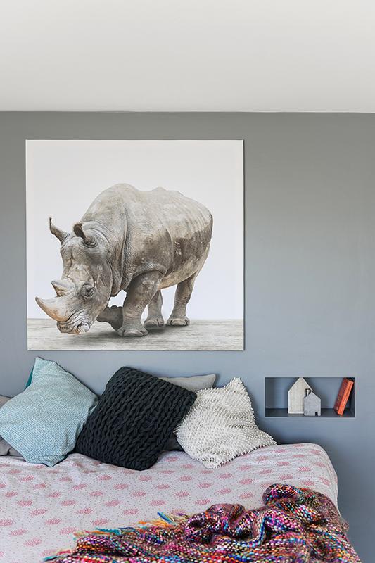 Grote stoere neushoorn op een mooie manier gefotografeerd en op ...