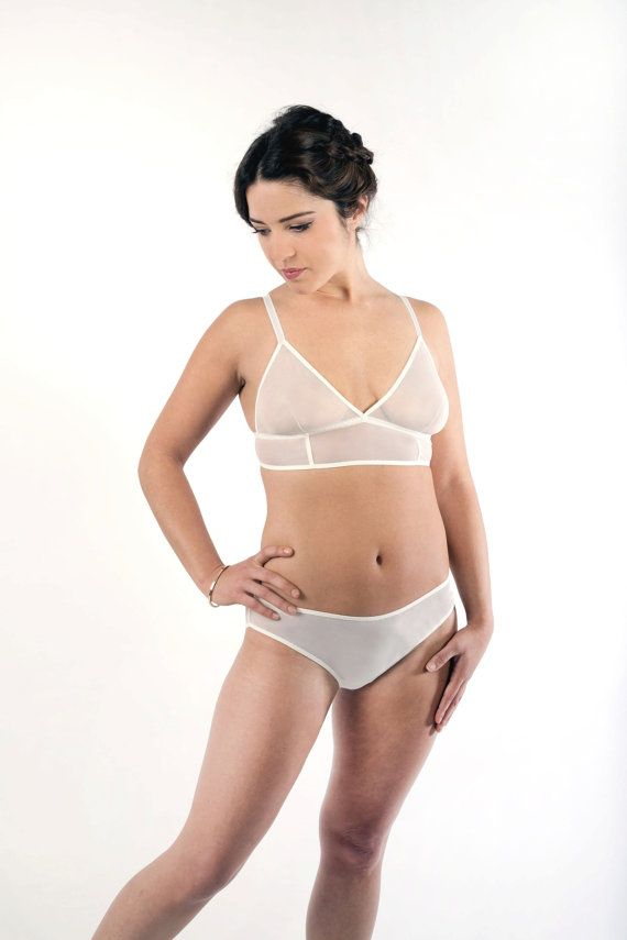 95903b80c0dfd Ivory Mesh Lingerie Set. Bra and Panties Handmade by Nahina Lingerie ...