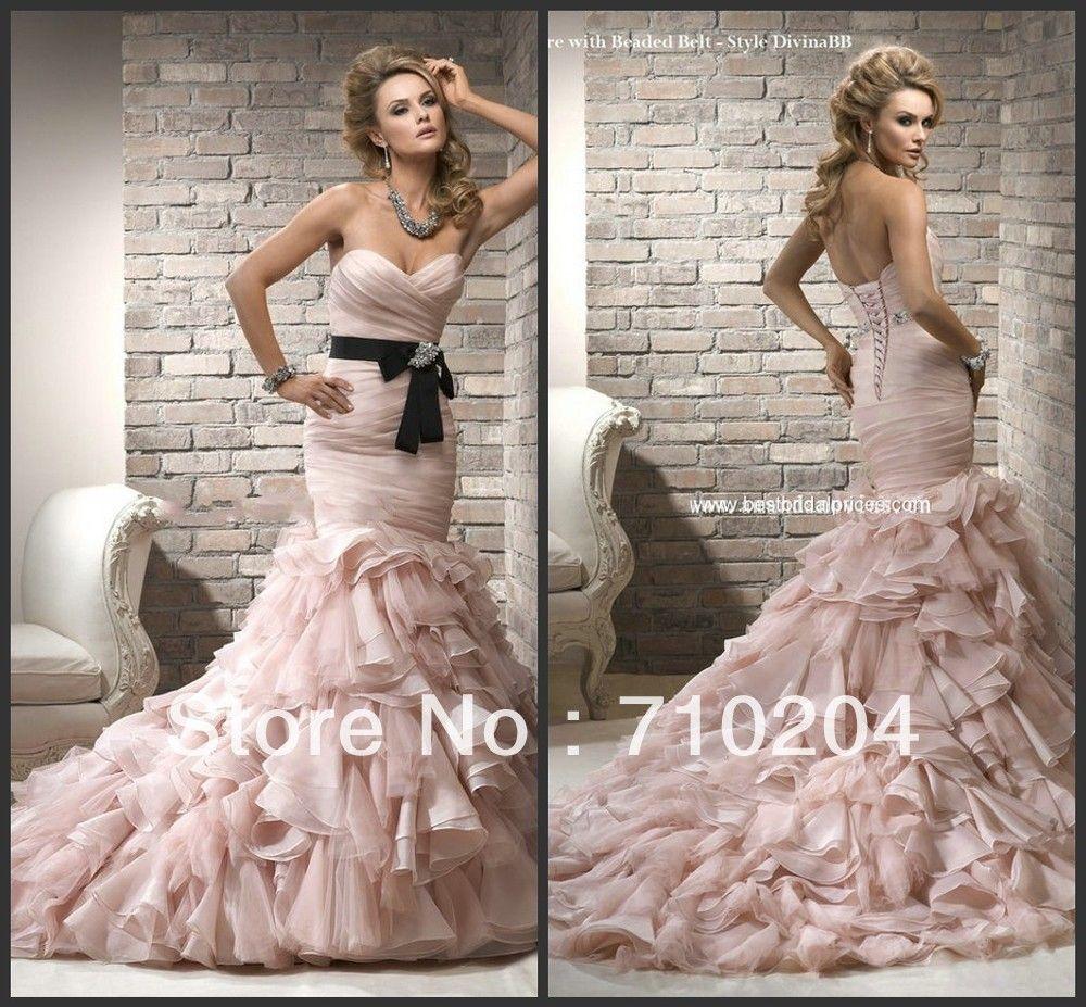 Wedding dress and jacket for guest  Stunning Organza Ruffles Mermaid Patterns Pink Wedding Dresses R