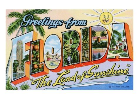Florida Sunshine State Vintage Railway Travel Art Poster Print Giclée