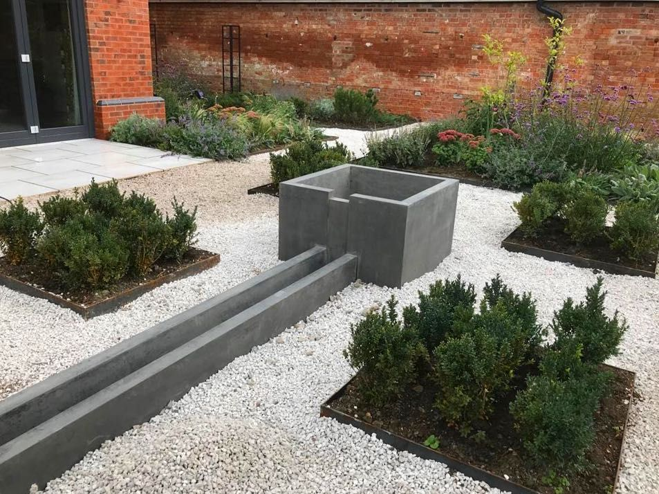 On Site Bespoke Concrete Water Rill Installed And Sealed Ready For Water Concreterill Water Features In The Garden Garden Design Nature Garden