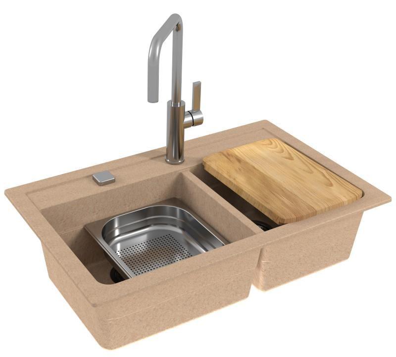 Alveus Atrox 50, Mix & Match inset / undermount sink   Beige / Bronze