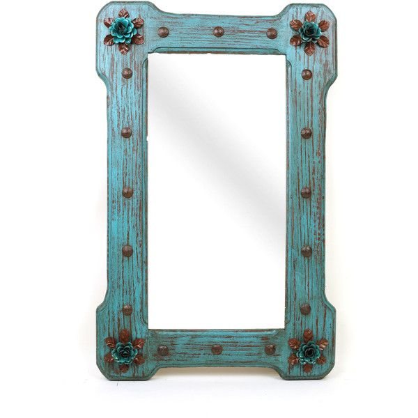 Turquoise Bloom Flower Mirror-Wood-Mexican-25x36-Rustic... ($330) ❤ liked on Polyvore featuring home, home decor, mirrors, home & living, home décor, silver, flower mirror, wooden home accessories, vertical mirror and flower stem