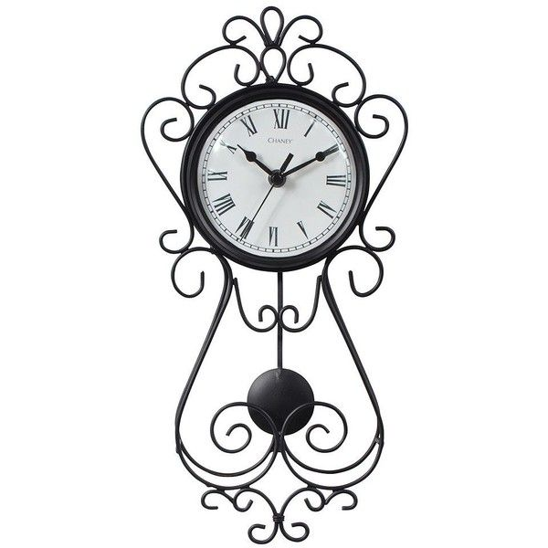 "Chaney 16.5"" Wrought Iron Pendulum Wall Clock ($54) ❤ liked on Polyvore featuring home, home decor, clocks, multicolor, battery powered clock, pendulum wall clock, pendulum clock, roman numeral wall clock and battery clock"