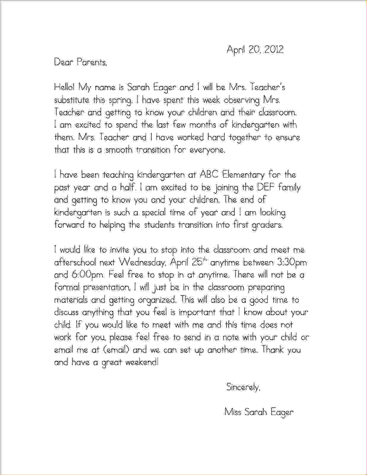 preschool teacher introduction letter to parents sample