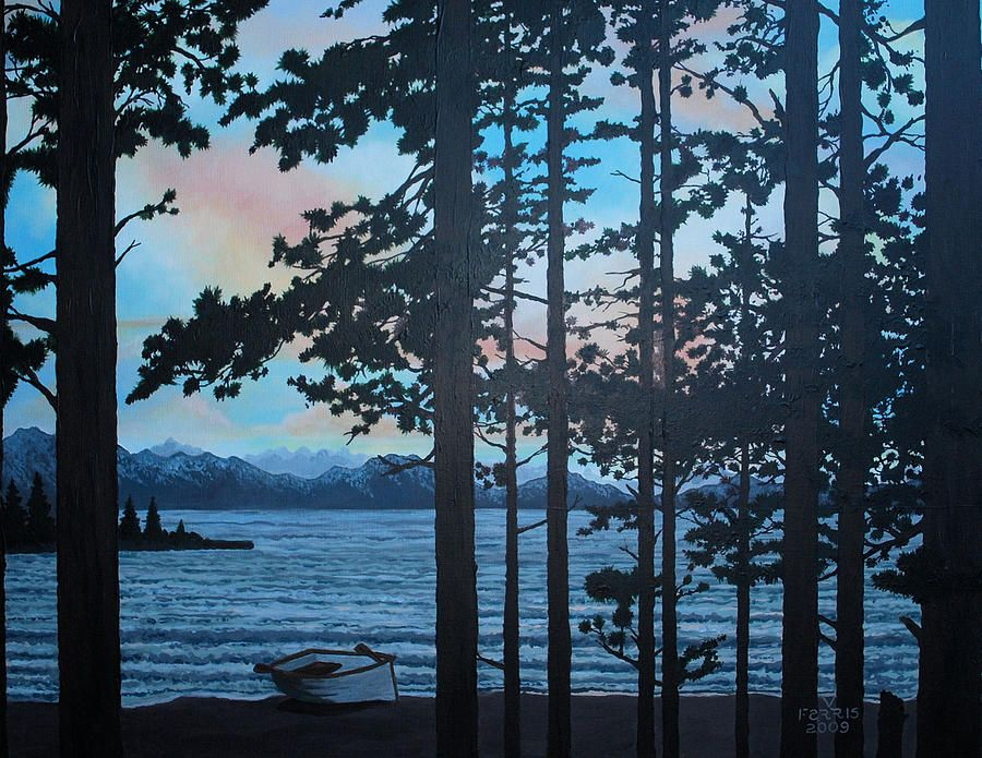 Acrylic Sunset Lake Trees Paintings for Sale