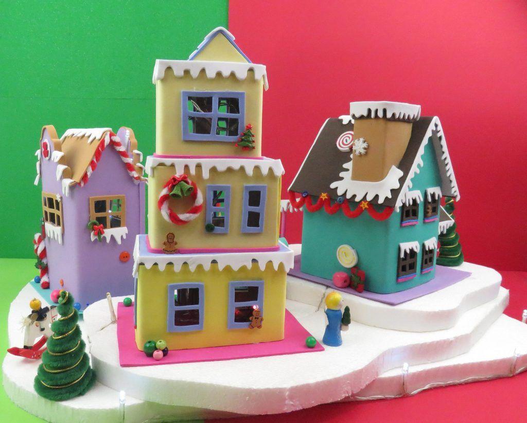Casitas De Navidad Con Carton Y Foamy Manualidades Apasos Casitas De Carton Manualidades Casitas Manualidades
