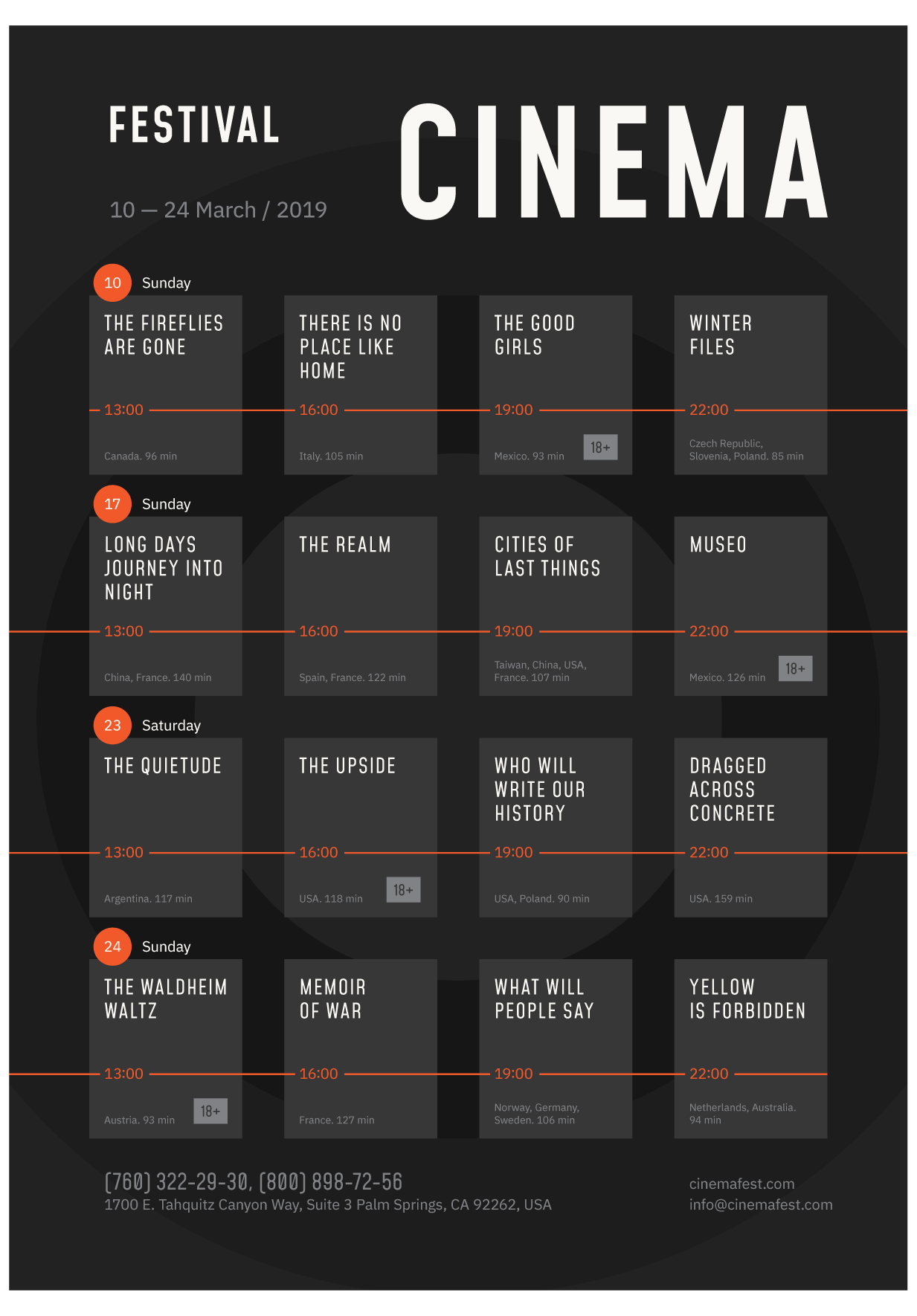 Film Festival Poster Template Event Schedule Template Film Festival Day Schedule Templa Event Schedule Design Graphic Design Schedule Schedule Design Layout