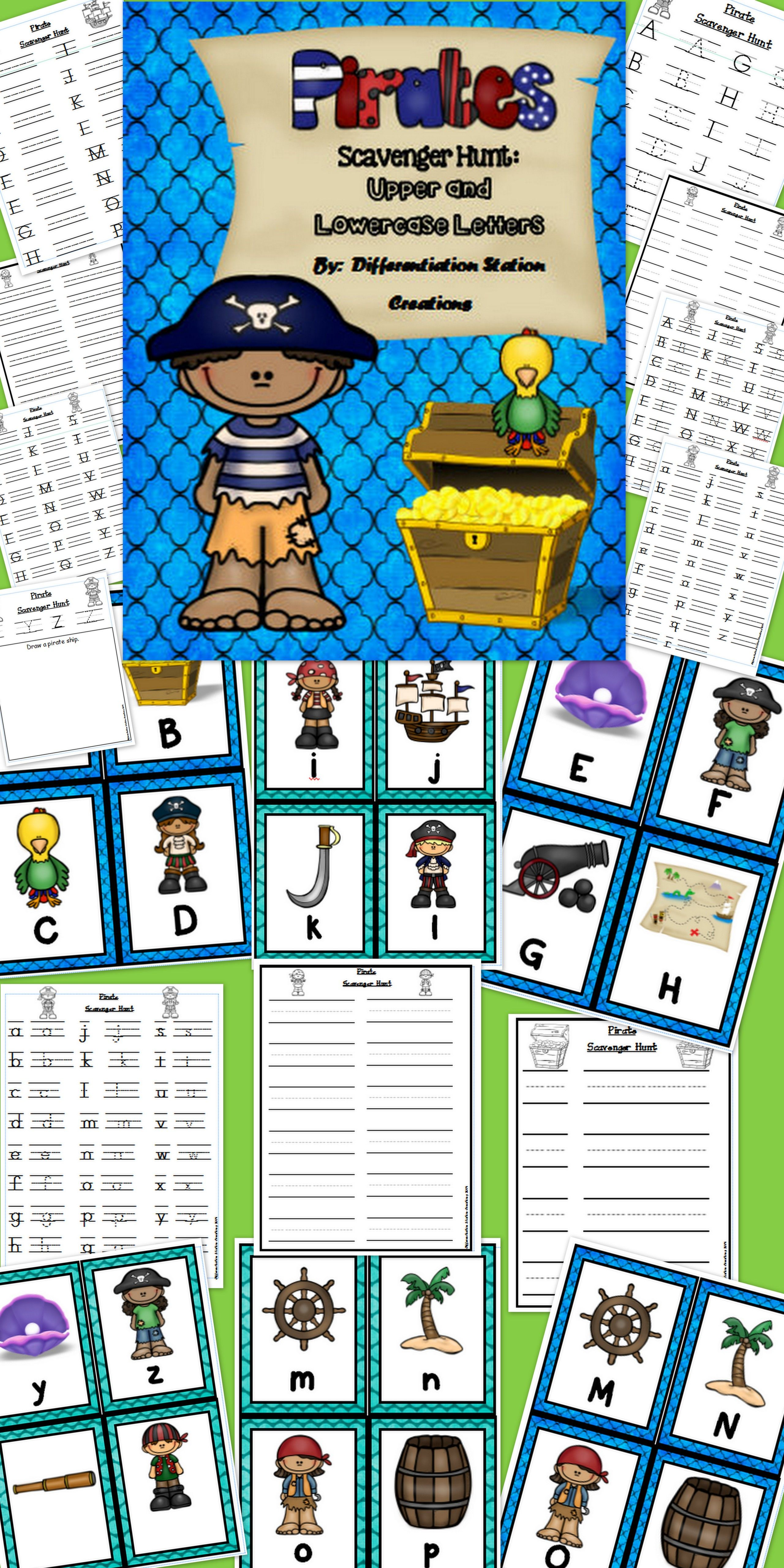 Pirate Scavenger Hunt Uppercase And Lowercase Letters Printables