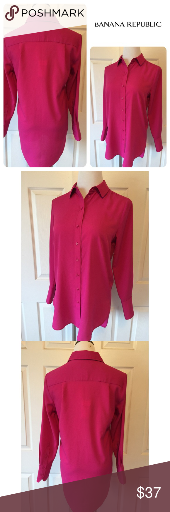 """BANANA REPUBLIC BUTTON DOWN HIGH/LOW TOP Beautiful Pink Banana Republic High/Low, Button down, Collared top🔹Size small:  38"""" bust, 26"""" front length, 31"""" back length🔹Cuffed sleeve🔹Fabric: 100% polyester🔹Machine wash🔹NO trades🔹Smoke free home 🔹Bundle discount: 10% off two, 15% off three🔹Please visit our wonderful friend 🔹Molinda @molinda25🔹To find more Banana Republic treasures🔹Thank you for stopping by💕 Banana Republic Tops Button Down Shirts"""