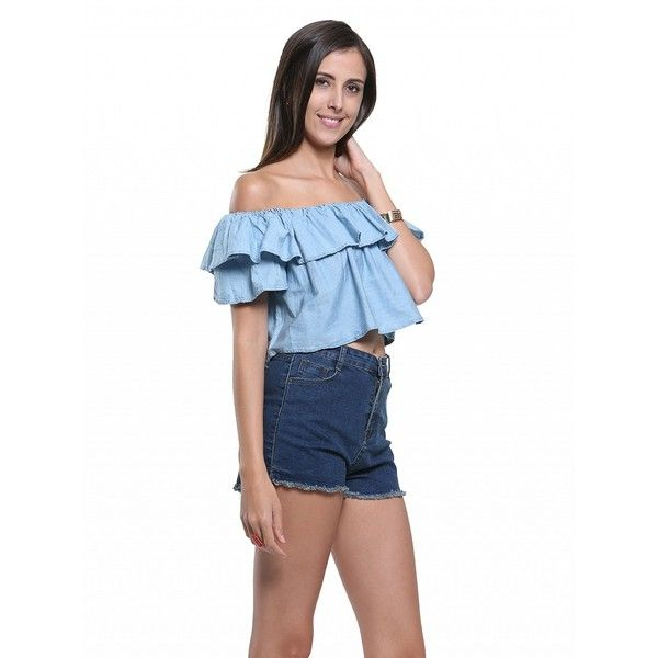 Choies Blue Off Shoulder Ruffle Hem Blouse ($14) ❤ liked on Polyvore featuring tops, blouses, blue, blue blouse, white off shoulder blouse, off the shoulder tops, white off the shoulder top and white blouses